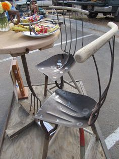 Old Metal Garden Tools into a garden table & chairs!  By Montana Wildlife Gardener.