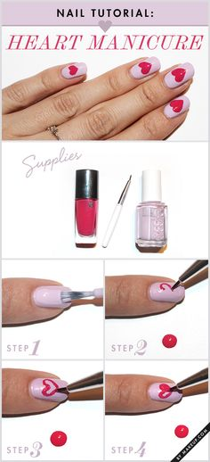 How to paint hearts on your nails // cute Valentine's Day manicure!