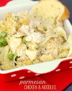 Garlic Parmesan Chicken and Noodles recipe { lilluna.com }