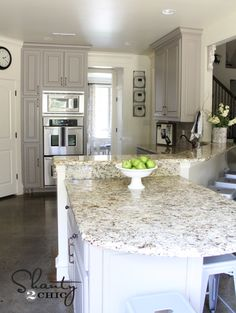painted gray kitchen cabinets! Perfection. And that countertop!!!!!!