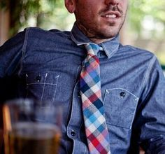 Blue Red Plaid Tie by Stalward with Chambray shirt