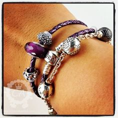 pandora double wrap leather bracelet - charms added