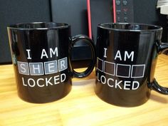 """Mug:  When hot liquid is poured into it, the letters """"SHER"""" appear."""