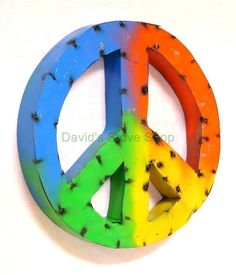 "Recycled Metal Retro Tie Dye Hippie Peace Sign Wall Decor 16"" x 2 1/2""  MIP2 1 $22.95"