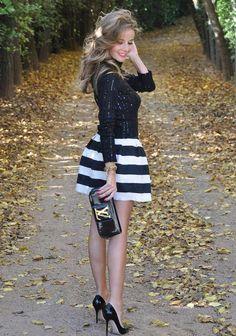 Black Striped Skater Skirt   Choies