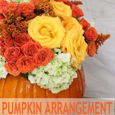 Halloweeen Flower Arrangement in a Pumpkin