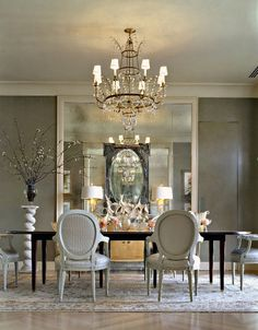 Modern House, [Marvelous Superb Black White Dining Room Decorations]: Silver White Dining Room Natural Exceptional Design Gray Walls Mirrors Walls Chandelier Black Accents Decorating Home Decor Ideas Jpgw dining areas, mirror, wall colors, dining rooms, grey walls, interior, dine room, dream, elegant dining
