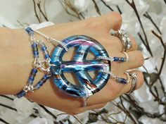 Beaded Peace Slave Bracelet Ring Chunky by TheMysticalOasisGlow, $35.00
