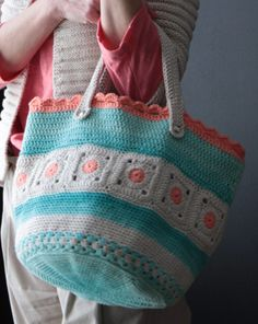 Beautiful colours in this crochet tote