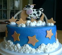 Edible Fondant Cow, Moon and Stars Baby Shower Cake Topper Set