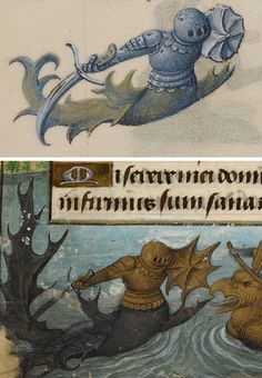 Merknight, 1486-1506 (top). Wild Men and a water-borne joust between grotesques, Flemish, about 1480 (bottom). British Library