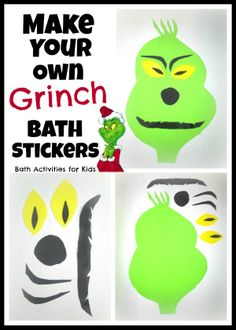 Make your own Grinch bath stickers