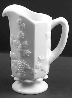 glasses, westmoreland milk, milk glass, glass pitcher, white milk, milkglass, grape leav