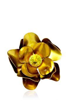Vintage Metal Flower Pin by Carole Tanenbaum for Preorder on Moda Operandi