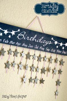 DIY Birthday Calendar / www.BusyMomsHelper.com