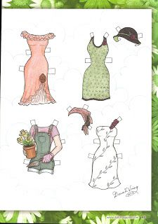 Not certain what doll this pattern is sized for, but the pattern is for the bottom left overalls & tee! Cute! (Free)