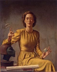 """Mrs. Schermerhorn (1941). Victor Karl Hammer (American, 1882-1967). Tempera on panel. The Wolfsonian–Florida International University. Mrs. Elizabeth Ker Schermerhorn (American, 1908-1960) is seated; in her hands she is holding a prism and stalks of wheat; bust of a female head at left. Schermerhorn was a woman of privilege who studied with Carl Jung. She held a strong belief that there could be an integration of people with mental illness with people in so-called """"normal society."""""""