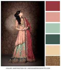 Pomegranate, Peach, Teal and Gold Indian Wedding Color Palette - {everything but the pomegranate. Color inspiration for wedding theme}