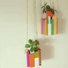 wooden blocks plant holder