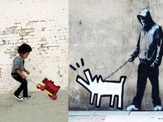 Walking the dog.  #banksy #pranksy #vilac #keithharing #rowdysprout #kids #fashion #streetart #graffiti #art #nyc #babesta