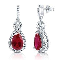 June Earring New Arrival - Pear Cut Ruby Cubic Zirconia CZ Sterling Silver Halo Dangle Earrings