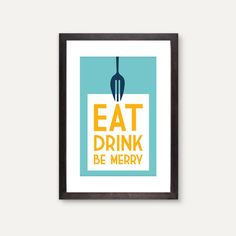Eat Drink Be Merry modern kitchen art fork by GraphicAnthology, $24.00