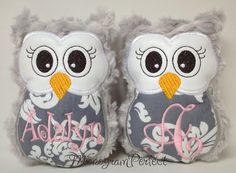 Gray Swirl Plush Mini Owl Rattle by MonogramPerfect on Etsy, $14.99