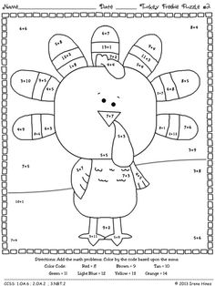 Freebie thanksgiving seasonal math printables 2 free color by the