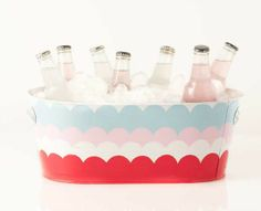 super cute summer DIYs inspired by @Martha Stewart Living including this Scalloped Beverage Bucket  - click thru for the project how to and to see the paint colors   #marthastewart #marthastewartcrafts #plaidcrafts #diy #crafts #madaboutcolor