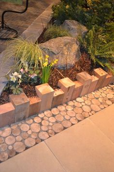 I liked the use of simple 4 x 4's for edging and the on-end branches as a transition zone (perhaps an alternative to the more commonly seen pebbles?) front gardens, yard garden, branch fence, garden patios, garden edging, fence post, gardening edging, fenc post