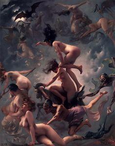 by Luis Ricardo Falero witch, departur, 1878, inspir, faust, lui ricardo, paintings, ricardo falero, oil