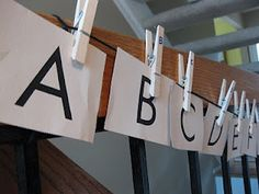 abc cards and clothespin match: learn the alphabet, get movin', and have FUN! #weteach