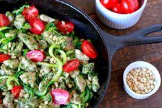 Pesto Chicken with Zucchini Noodles (gluten and grain free, paleo) ~ savorylotus.com