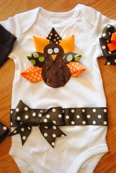 Thanksgiving Ribbon Turkey Onesie with cute polka dot bow