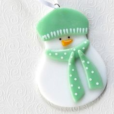 cute fused glass snowman