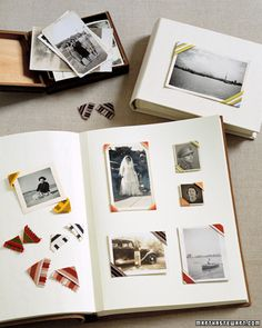 DIY ribbon photo corners- a great way to use up ribbon scraps from your stash!