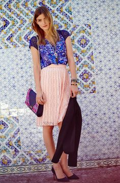 Pair this dainty lace skirt with a bold pattern top for a modern but sweet look.