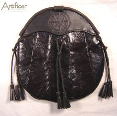 Fishskin Leather Sporran With Commissioner's own Sigil tooled into the cantle.