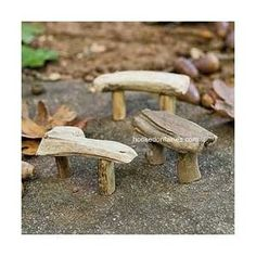 So many cute little items for faerie gardens Mini Driftwood Bench #1021 Image hookedonfairies.com