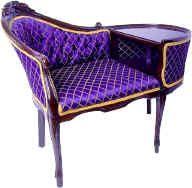 vintage chairs, bench, purpl chair, purple, thing purpl, color, scavenger hunts, writing desk, telephon