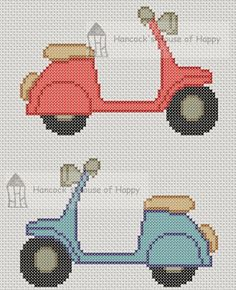 And awaaay we go!  Free vespa scooter cross stitch chart free download