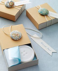 Button and elastic. Cute for packaging.