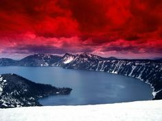 oregon, red, sky, crater lake, color