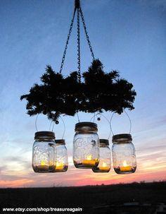 Mason Jar Wreath Chandelier by treasureagain @ etsy