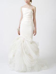 Asymmetrically Draped Luxury Stretch Mermaid Wedding Dress