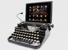 For those who just want a throwback - you can DIY typewriter to ipad (or computer) or buy a premade kit.