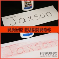 Glue Name Rubbings in #preschool and #kindergarten - Did this for All About Me Books - turned out really cute.  Just make sure to leave some extra space between the letters so the glue does not spread into the other letters.