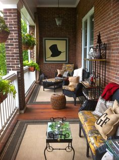 Patios porches backyards on pinterest outdoor spaces - Narrow porch decorating ideas ...