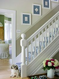 3 tone paint to mimic Wainscoting-framed vintage hankies on wall