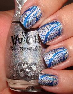 color combo, polish nails, nail polish colors, blue silver nails, gel nails, nail arts, beauti, color charts, nail gel